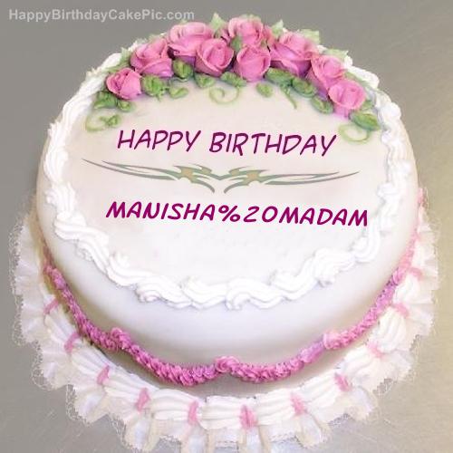 Pink Rose Birthday Cake For Manisha Madam