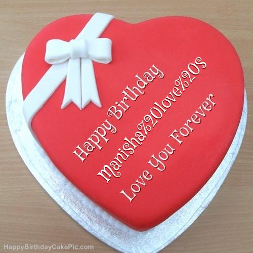 Pink Heart Happy Birthday Cake For Manisha love s