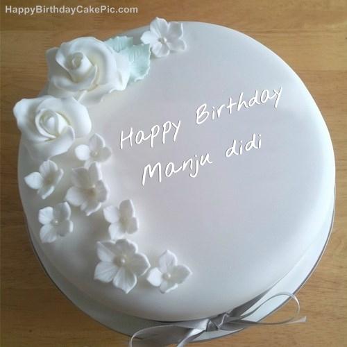 Images Of Birthday Cakes With Name Manju : White Roses Birthday Cake For Manju didi