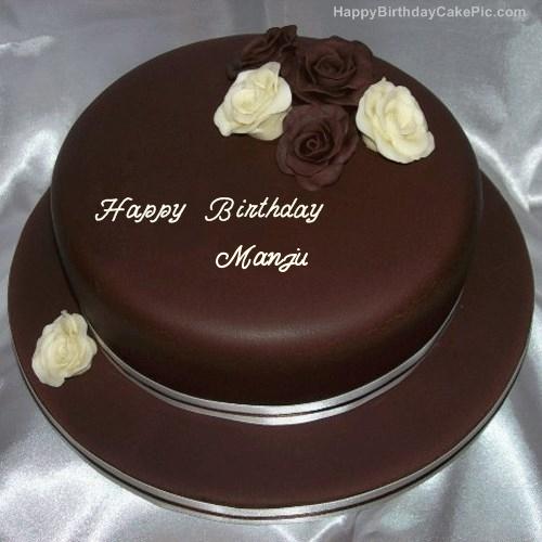 Images Of Birthday Cakes With Name Manju : Rose Chocolate Birthday Cake For Manju