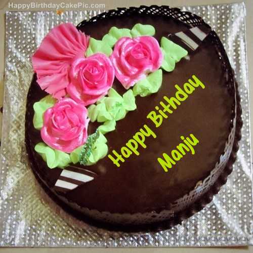 Images Of Birthday Cakes With Name Manju : Chocolate Birthday Cake For MANJU