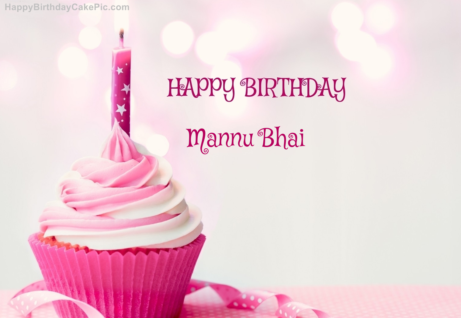 Happy Birthday Cupcake Candle Pink Cake For Mannu Bhai