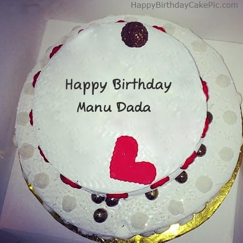 Birthday Cake Images With Name Manu : Round Happy Birthday For Manu Dada