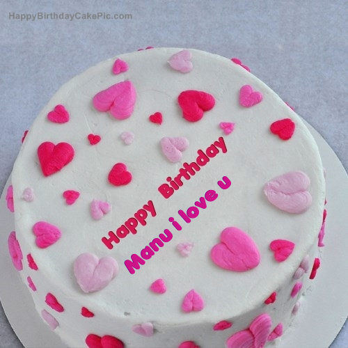 Birthday Cake Images With Name Manu : Little Hearts Birthday Cake For Manu i love u