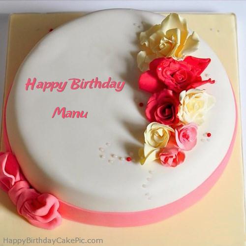 Images Of Birthday Cake With Name Manish : Roses Happy Birthday Cake For Manu