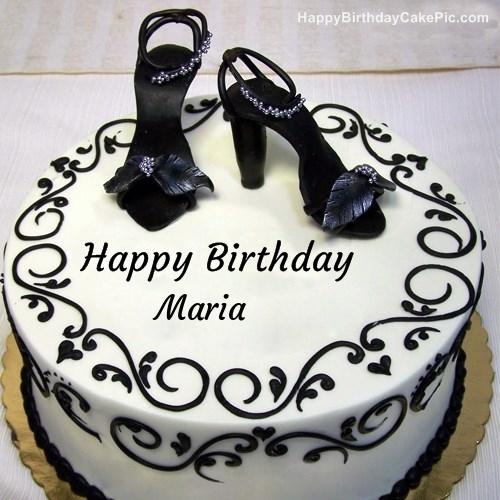 Fashion Happy Birthday Cake For Maria