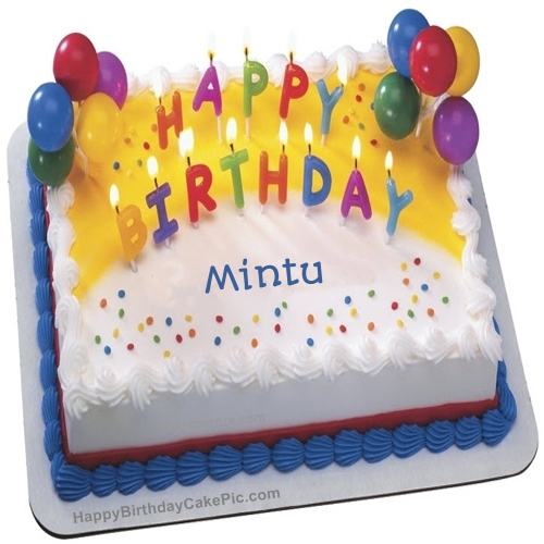 birthday wish cake with candles for mintu