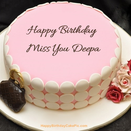 Birthday Cake Images With Name Deepa : Pink Birthday Cake For Miss You Deepa