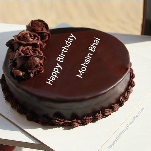 Birthday Cake Pic With Name Mohsin : Girls Birthday Wish Chocolate Rose Cake For Mohsin Bhai