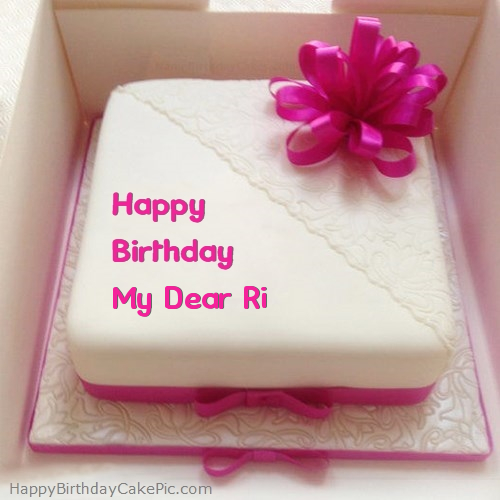 Excellent Pink Happy Birthday Cake For My Dear Ri Personalised Birthday Cards Veneteletsinfo