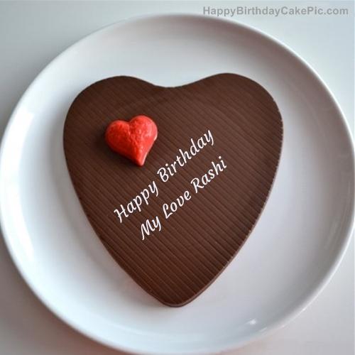 Cake Images With Name Rashi : Chocolate Heart Cake For My Love Rashi