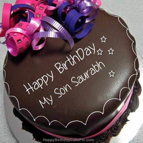 Phenomenal Happy Birthday Chocolate Cake For My Son Saurabh Birthday Cards Printable Trancafe Filternl