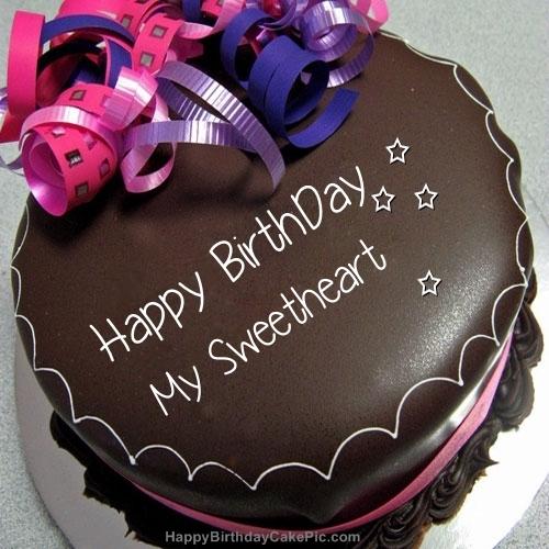 Happy Birthday Chocolate Cake For My Sweetheart