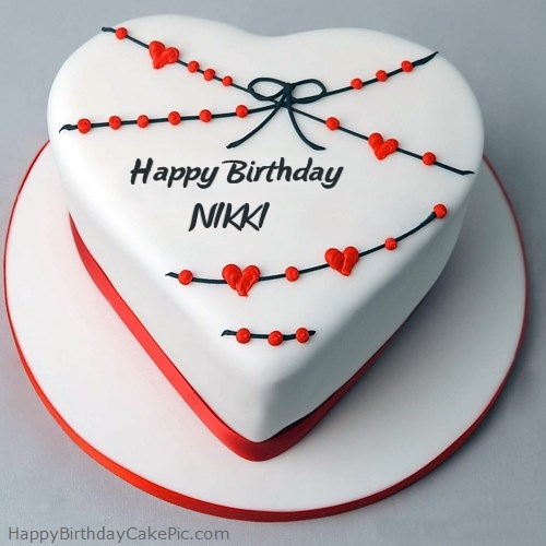 Birthday Cake Images With Name Nikki : Red White Heart Happy Birthday Cake For NIKKI