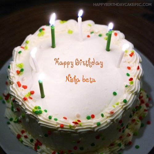 Birthday Cake With Candles For Nisha Betu