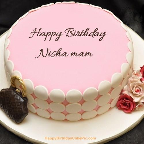 Pink Birthday Cake For Nisha Mam