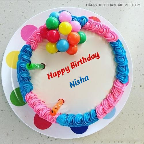 Birthday Cake Nisha Images : Colorful Happy Birthday Cake For Nisha