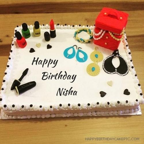 Birthday Cake Pic With Name Nisha : Cosmetics Happy Birthday Cake For Nisha