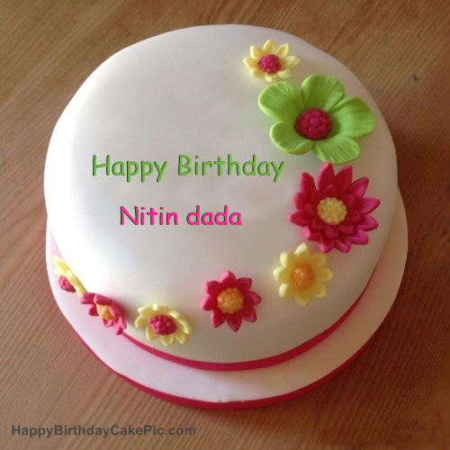 Cake Images With Name Nitin : Colorful Flowers Birthday Cake For Nitin dada