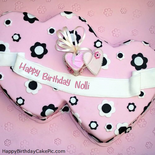 write name on Double Hearts Happy Birthday Cake