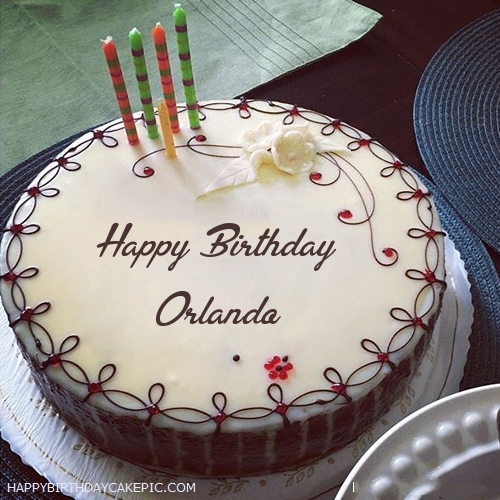 Superb Candles Decorated Happy Birthday Cake For Orlando Personalised Birthday Cards Beptaeletsinfo