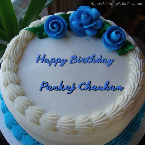 Blue Flower Ice-cream Cake For Pankaj Chauhan
