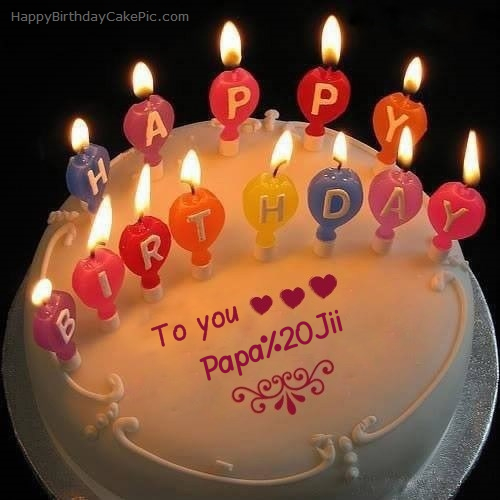 Candles Happy Birthday Cake For Papa Jii