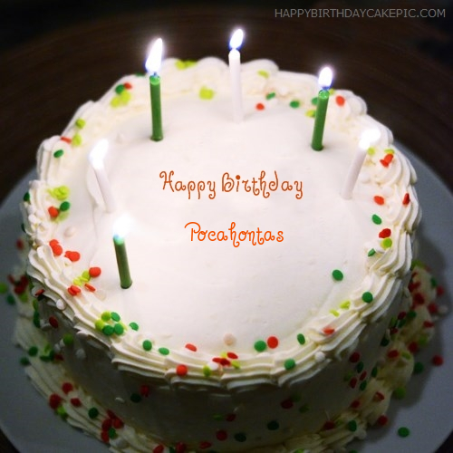 Awesome Birthday Cake With Candles For Pocahontas Personalised Birthday Cards Cominlily Jamesorg