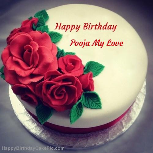 Roses Birthday Cake For Pooja My Love