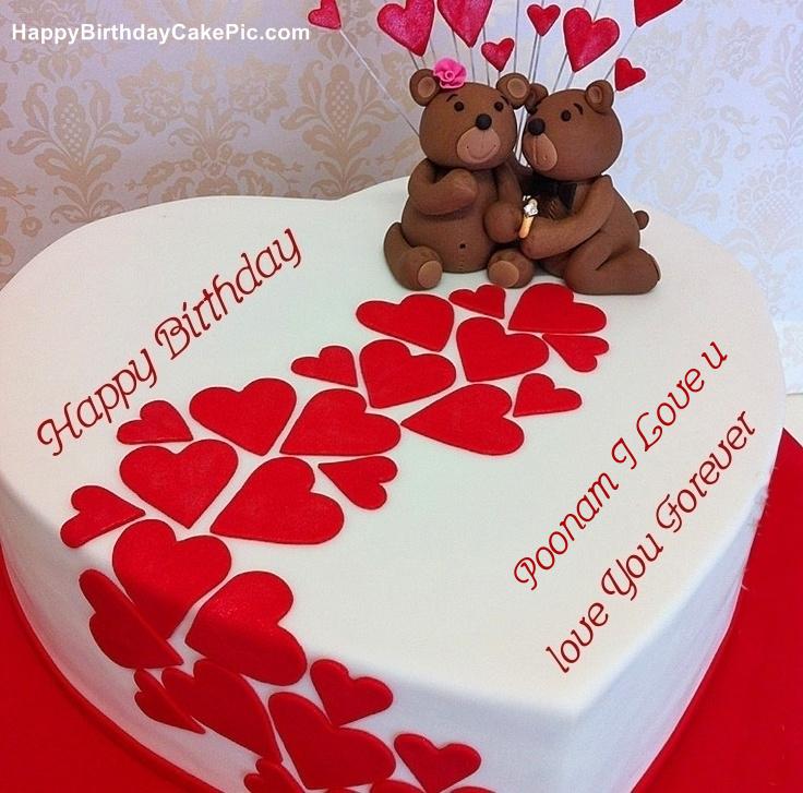 Cake Image Name Poonam : Heart Birthday Wish Cake For Poonam I Love u