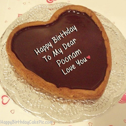 Chocolate Heart Birthday Cake For Lover For Poonam