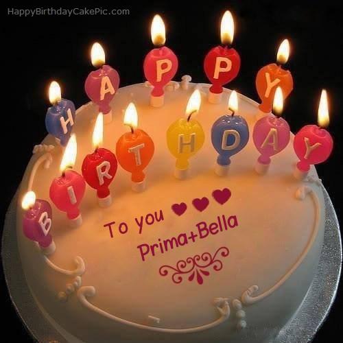 ️ Candles Happy Birthday Cake For Prima+Bella