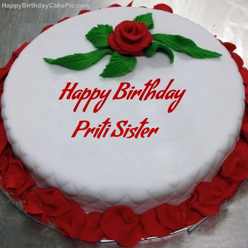 Cool Red Rose Birthday Cake For Priti Sister Personalised Birthday Cards Paralily Jamesorg