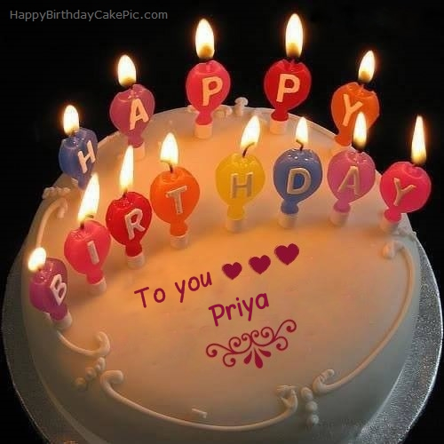 Surprising Candles Happy Birthday Cake For Priya Personalised Birthday Cards Akebfashionlily Jamesorg