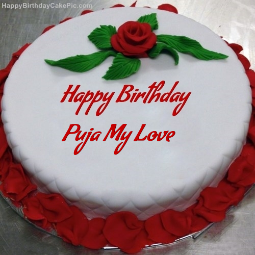 Red Rose Birthday Cake For Puja My Love