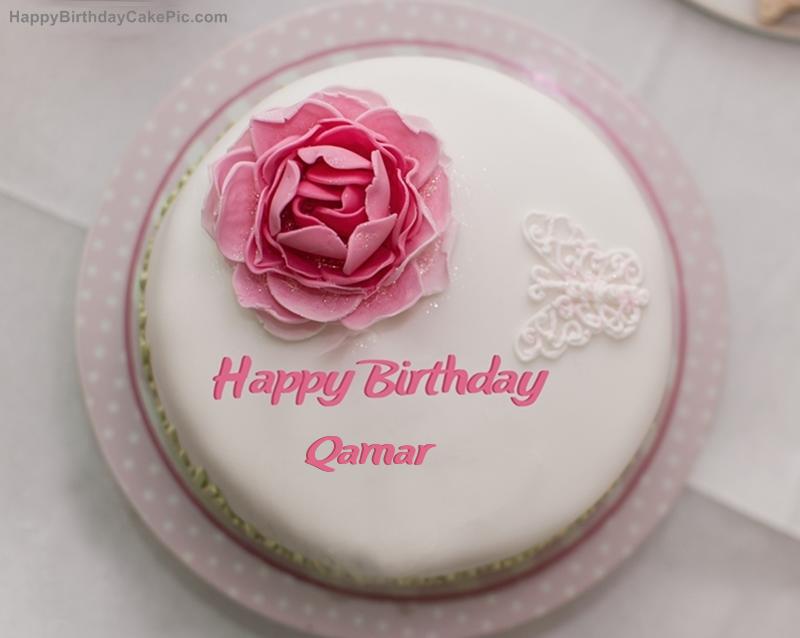 Birthday Cake With Name Qamar ~ Rose birthday cake for qamar