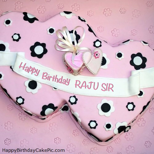 Cake Images With Name Raju : Double Hearts Happy Birthday Cake For RAJU SIR