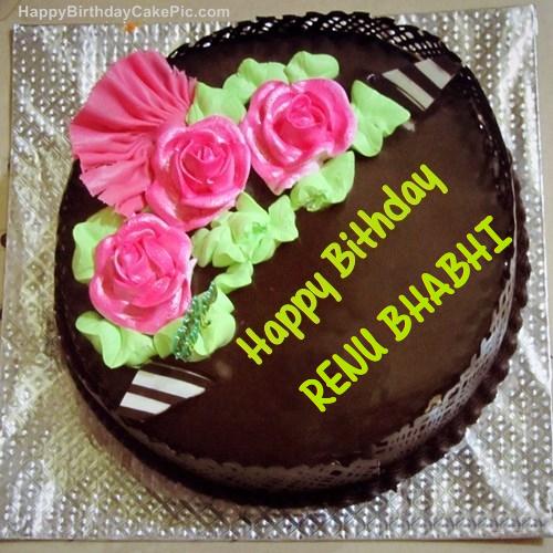 chocolate birthday cake for renu bhabhi on birthday cake with name renu