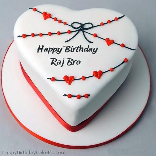 Red White Heart Happy Birthday Cake For Raj Bro