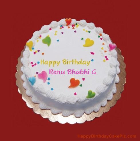 colorful birthday cake for renu bhabhi g on birthday cake with name renu
