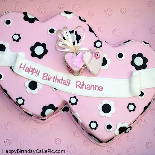 Marvelous Double Hearts Happy Birthday Cake For Rihanna Funny Birthday Cards Online Fluifree Goldxyz