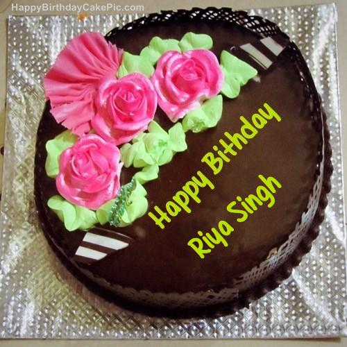 Cake Images With Name Riya : Chocolate Birthday Cake For Riya Singh