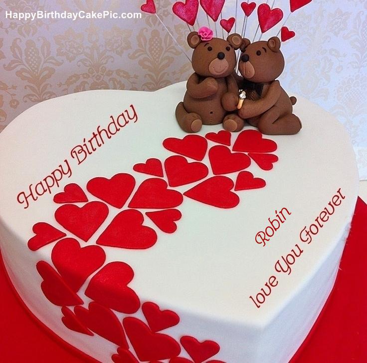 Heart Birthday Wish Cake For Robin