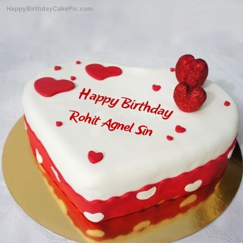 Cake Images With Name Rohit : Ice Heart Birthday Cake For Rohit Agnel Sin