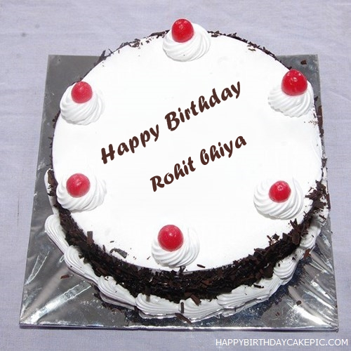 Cake Images With Name Rohit : Black Forest Birthday Cake For Rohit bhiya