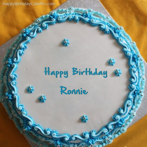 Blue Floral Birthday Cake For Ronnie