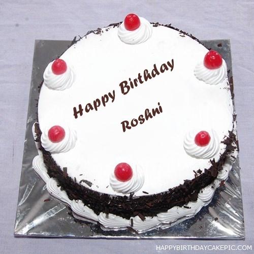 Cake Images With Name Roshni : Black Forest Birthday Cake For Roshni