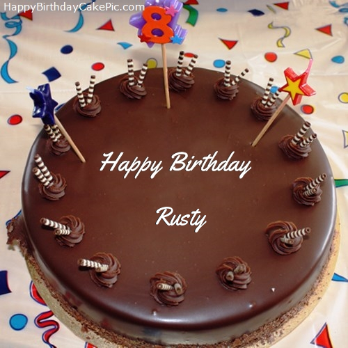 Birthday Cake Images With Name Bittu : 8th Chocolate Happy Birthday Cake For Rusty