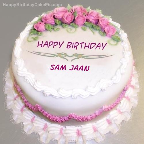 Birthday Cake For Jaan ~ Pink rose birthday cake for sam jaan