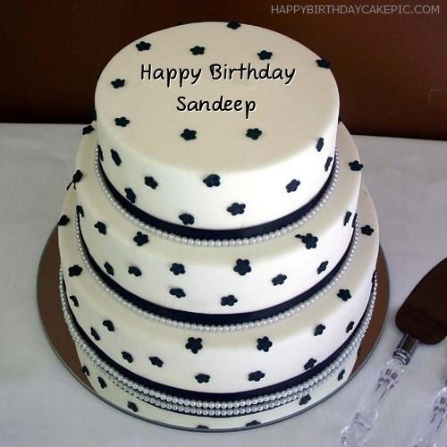 Cake Images With Name Sandeep : Layered Birthday Cake For Sandeep